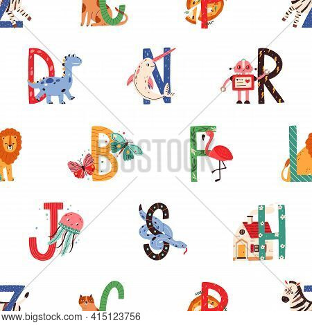 Seamless Pattern With Colorful Letters Of English Alphabet And Corresponding Cute Animals On White B