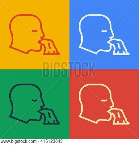 Pop Art Line Vomiting Man Icon Isolated On Color Background. Symptom Of Disease, Problem With Health