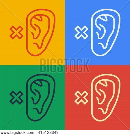 Pop Art Line Deafness Icon Isolated On Color Background. Deaf Symbol. Hearing Impairment. Vector