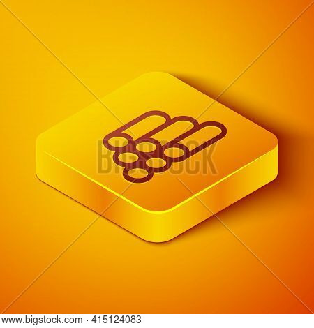 Isometric Line Wooden Logs Icon Isolated On Orange Background. Stack Of Firewood. Yellow Square Butt