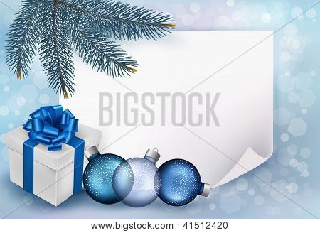 Holiday Blue Background With Christmas Sheet Of Paper And Gift Box. Vector Illustration