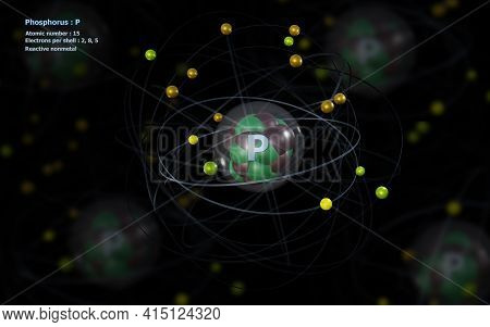 3d Illustration Of Atom Of Phosphorus With Detailed Core And Its 15 Electrons With Atoms In Backgrou