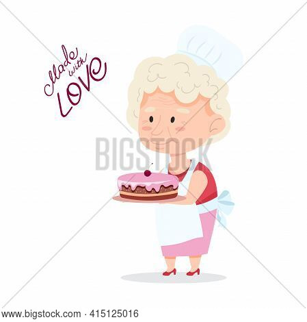 Grandmother Is Holding A Cake. A Funny Granny With A Pastry Cap On Her Head And An Apron. Vector Ill
