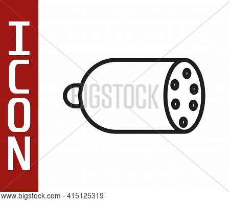 Black Line Salami Sausage Icon Isolated On White Background. Meat Delicatessen Product. Vector
