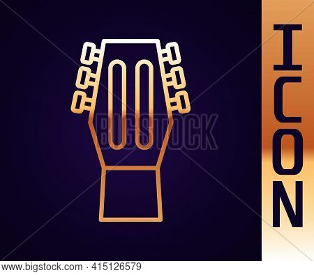 Gold Line Guitar Icon Isolated On Black Background. Acoustic Guitar. String Musical Instrument. Vect