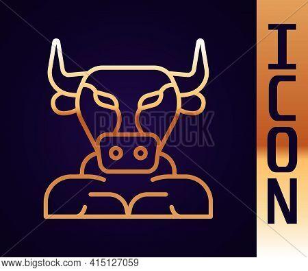 Gold Line Minotaur Icon Isolated On Black Background. Mythical Greek Powerful Creature The Half Huma