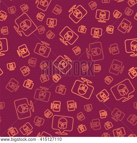 Brown Line Greek Helmet Icon Isolated Seamless Pattern On Red Background. Antiques Helmet For Head P