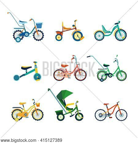 Set Of Kids Bicycles And Tricycles And Transport For Children: Baby Carriage, Balance-bike In Flat S