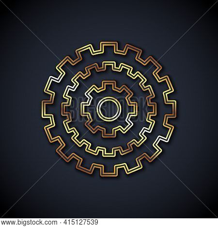 Gold Line Bicycle Cassette Mountain Bike Icon Isolated On Black Background. Rear Bicycle Sprocket. C