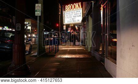 Oceanside, California Usa - 9 Feb 2020: Lonely Man Looks Like Homeless Walking, City Street Walkway