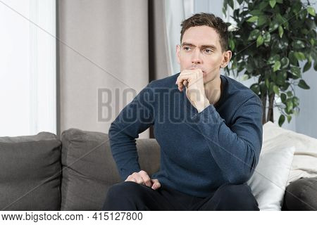 Portrait Of Sad Upset Depressed Guy, Young Handsome Frustrated Pensive Thoughtful Lonely Man With Bo