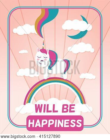 A Bright And Happy Illustration With A Pony And A Rainbow. Vector Image