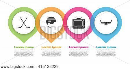 Set Ice Hockey Sticks, Hockey Helmet, Retro Tv And Ice Hockey Sticks And Puck. Business Infographic