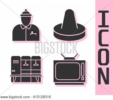 Set Retro Tv, Hockey Coach, Locker Or Changing Room And Mallet For Playing Air Hockey Icon. Vector