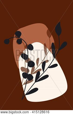 Plant Branch Pattern Background. Boho Minimalist Poster For Design T Shirt, Nursery Wall Decor, Gree