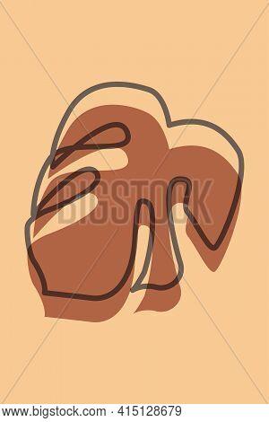 Monstera Leaf Pattern Background. Boho Minimalist Poster For Design T Shirt, Nursery Wall Decor, Gre