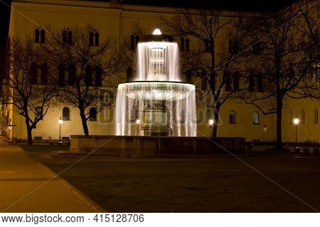 Munich, Germany - Jan 10, 2021: Fountain At The Geschwister-scholl-platz, In Front Of The Ludwig Max