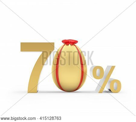 Seventy Percent Discount With Golden Easter Egg Decorated With Ribbon. 3d Illustration