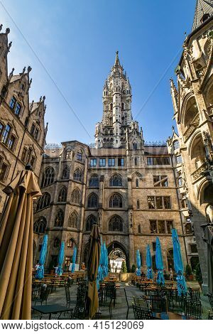 Munich, Germany - Jul 27, 2020: The New Town Hall, Is A Town Hall At The Northern Part Of Marienplat