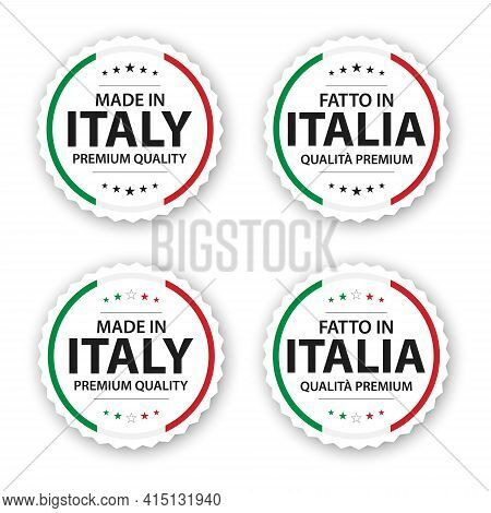 Set Of Four Italian Labels. Made In Italy In Italian Fatto In Italia. Premium Quality Stickers And S