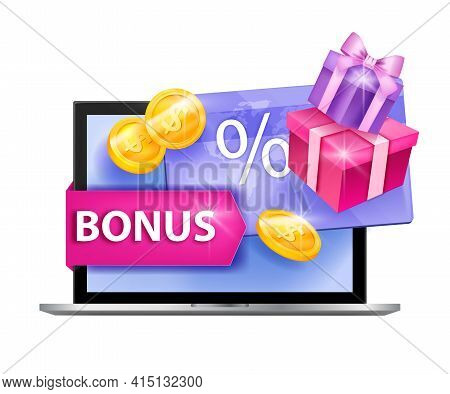Loyalty Program Vector Illustration, Customer Gift Card Concept, Laptop, Present Boxes, Gold Coins.