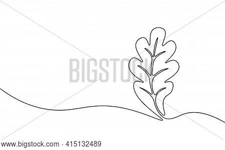 Single Continuous Line Art Growing Oak Sprout. Plant Leaves Oak-tree Grow Soil Eco Natural Farm Conc