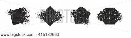 Shape Shattered And Explodes Flat Style Design Vector Illustration Set Isolated On White Background.