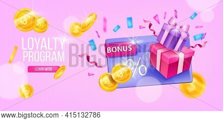 Customer Loyalty Program, Vector Gift Card, Web Page Banner, Present Box, Gold Coins, Button. Consum