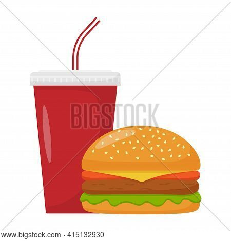 Cheeseburger And Soda Isolated On White Background. Burger, Hamburger And Soda Drink. Fast Food, Str