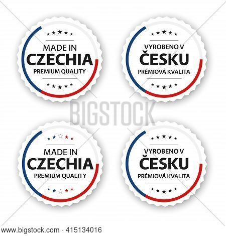 Set Of Four Czech Labels. Made In Czechia In Czech Vyrobeno V Česku. Premium Quality Stickers And Sy