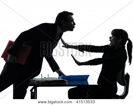 one caucasian business woman man couple sexual harassment in silhouette studio isolated on white background