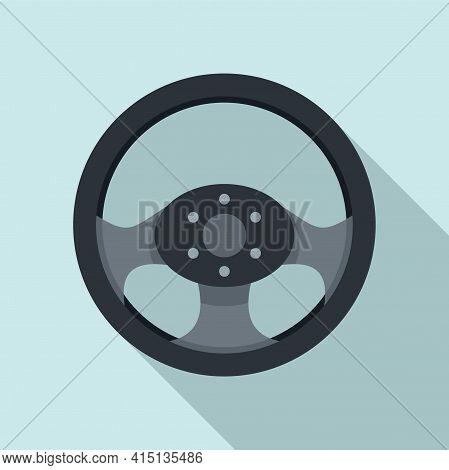 Steering Wheel Equipment Icon. Flat Illustration Of Steering Wheel Equipment Vector Icon For Web Des