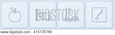 Set Line Apple, Flat Foot, Hospital Bed And Scar With Suture. White Square Button. Vector