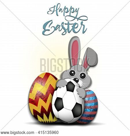 Happy Easter. Rabbit With Egg Shaped Soccer Ball