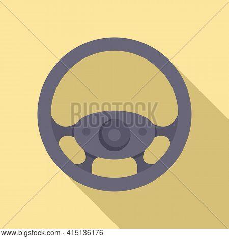 Metal Steering Wheel Icon. Flat Illustration Of Metal Steering Wheel Vector Icon For Web Design
