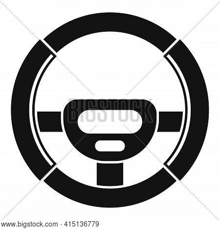 Round Steering Wheel Icon. Simple Illustration Of Round Steering Wheel Vector Icon For Web Design Is