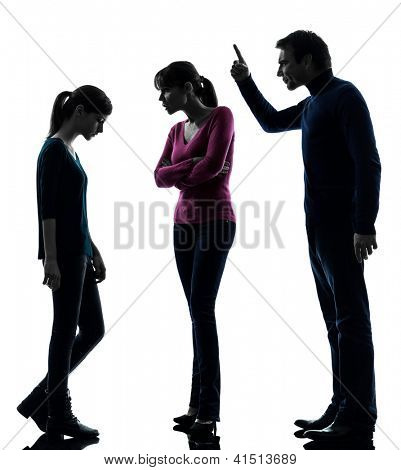 one caucasian family father mother daughter man dispute reproach in silhouette studio isolated on white background