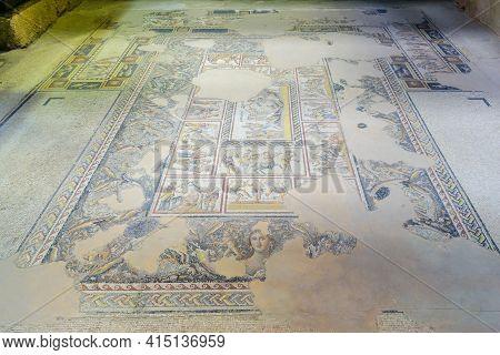 Tzipori, Israel - March 29, 2021: View Of A Roman Era Mosaic Floor Of The Dionysus House, In Tzipori