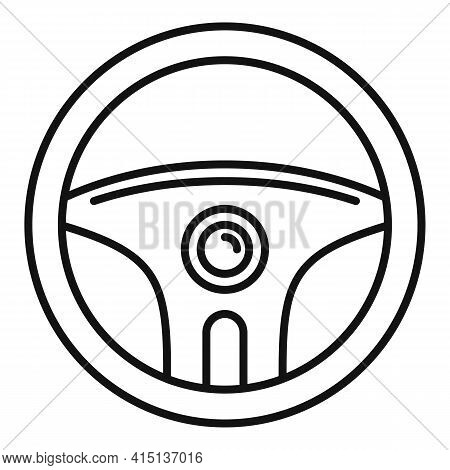 Driver Steering Wheel Icon. Outline Driver Steering Wheel Vector Icon For Web Design Isolated On Whi