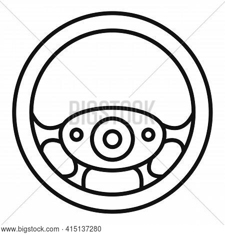 Circle Steering Wheel Icon. Outline Circle Steering Wheel Vector Icon For Web Design Isolated On Whi