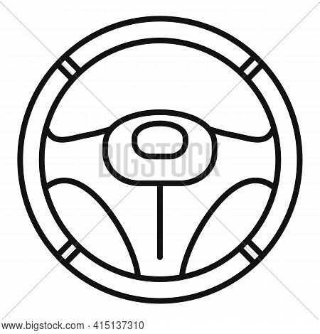 Leather Steering Wheel Icon. Outline Leather Steering Wheel Vector Icon For Web Design Isolated On W