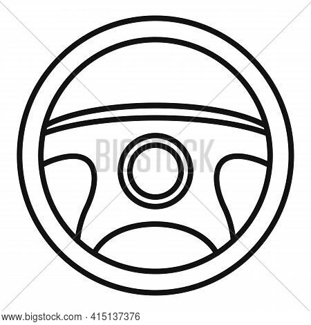 Tuning Steering Wheel Icon. Outline Tuning Steering Wheel Vector Icon For Web Design Isolated On Whi