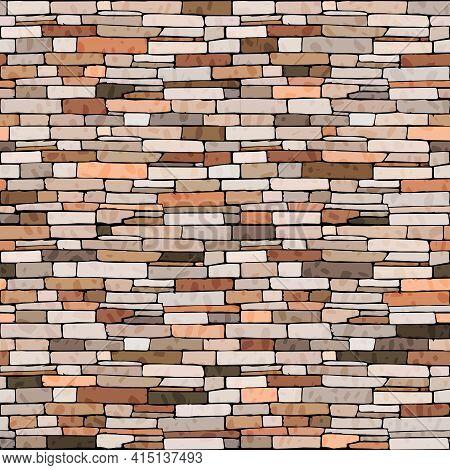 Brick Wall Seamless Pattern, Building Facade Texture With Masonry, Vector Colorful Bricks, Stone Tex