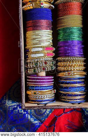 Stock Photo Of Indian Traditional Colorful Bangles And Bracelet Kept And Decorated In Bangle Box On