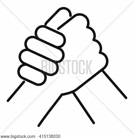 Sport Arm Wrestling Icon. Outline Sport Arm Wrestling Vector Icon For Web Design Isolated On White B