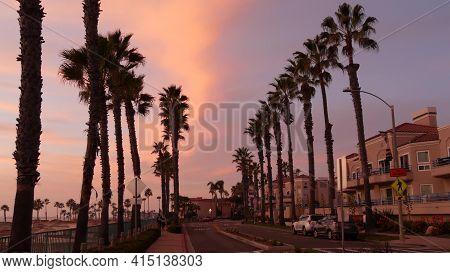 Oceanside, California Usa - 27 Jan 2020: Palms Silhouette, Twilight Sky, Dusk Nightfall Atmosphere.