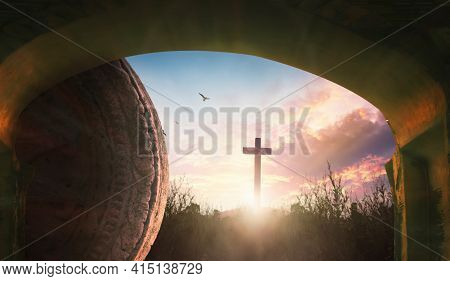 Easter Concept: Tomb Empty With Crucifixion At Sunrise