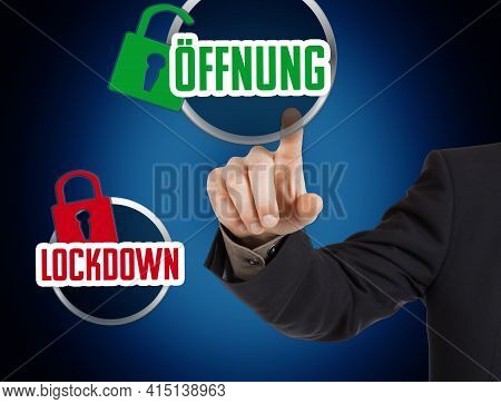 Concept: Buttons With The Word Lockdown And The German Word Oeffnung (reopen)