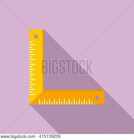 Carpenter Angle Ruler Icon. Flat Illustration Of Carpenter Angle Ruler Vector Icon For Web Design