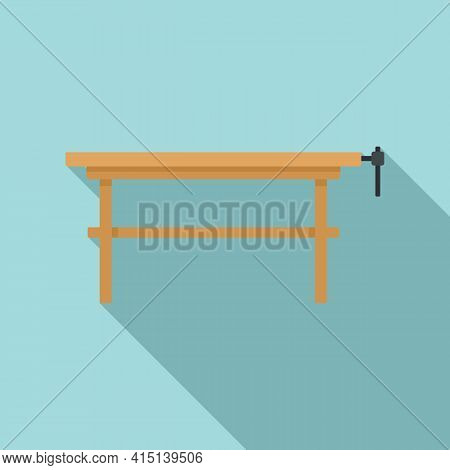 Carpenter Work Table Icon. Flat Illustration Of Carpenter Work Table Vector Icon For Web Design